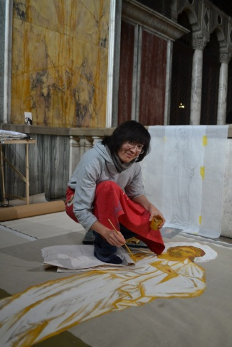 Rachel Alem in 2015, working on the Divine Mercy. Station 2 of the Way of Mercy in Westminster Cathedral, London
